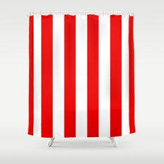 Holidaze Stripe Red White Vertical Shower Curtain