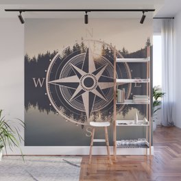 Rose Gold Compass Forest Wall Mural