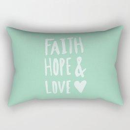 Faith Hope and Love x Mint Rectangular Pillow