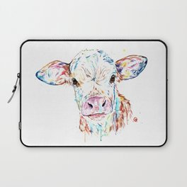 Manitoba Cow - Colorful Watercolor Painting Laptop Sleeve