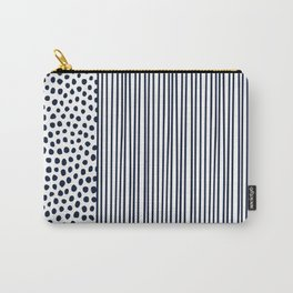 Dots and Stripes Modern Navy and White Carry-All Pouch