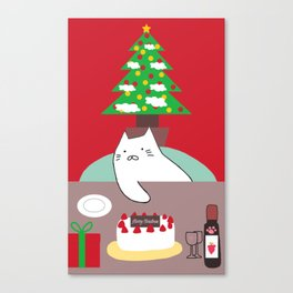 cat Christmas tree 15 Canvas Print