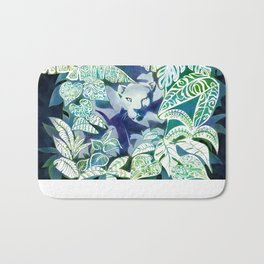 Jungle Jaguar Cat water colour illustration Bath Mat