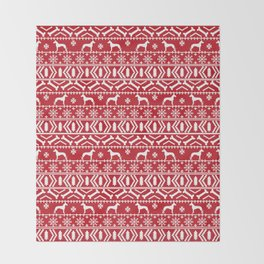Great Dane fair isle christmas holiday red and white minimal pattern gifts for dog lover Throw Blanket