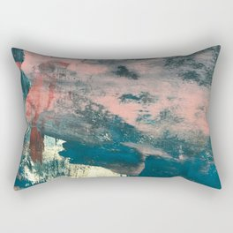 Lighthouse: a bold, mixed-media abstract piece in blues, pink, and gold Rectangular Pillow
