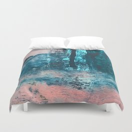 Wishes: an abstract mixed-media piece in blues, pink, and gold Duvet Cover
