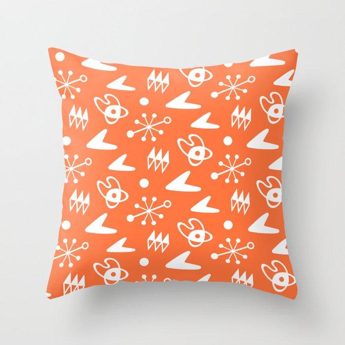 Mid Century Modern Atomic Boomerang Pattern Orange Throw Pillow