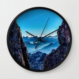 Moutain sky ice blue Wall Clock