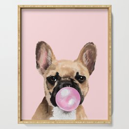 French Bull Dog with Bubblegum in Pink Serving Tray