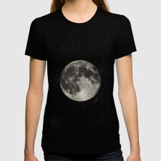 The Moon  [Sans Type] MEDIUM Womens Fitted Tee Black