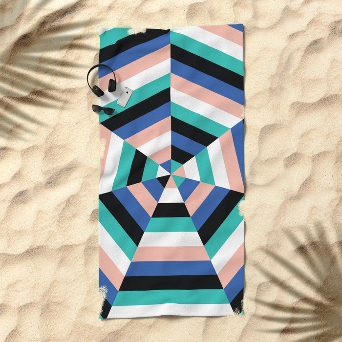 Heptagon Quilt 3 Beach Towel
