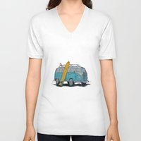 vw V-neck T-shirts featuring VW Bus by AshyGough