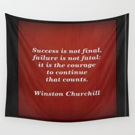 Winston Churchill Success Quote - Corbin Henry - Famous Quotes Wall Tapestry