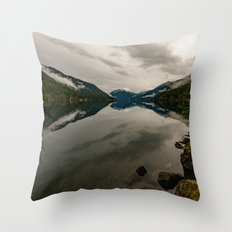 Snow Fog Mountain Olympic National Park foggy forest trees love water blue lake wild travel sky 4 Throw Pillow