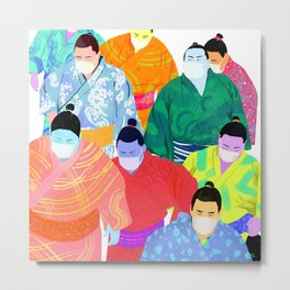 SUMO WRESTLERS IN MASKS Metal Print