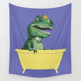 Playful T-Rex in Bathtub in Purple Wall Tapestry