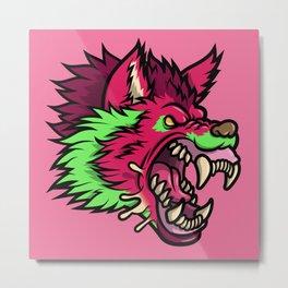Pink Punk Wolf Metal Print