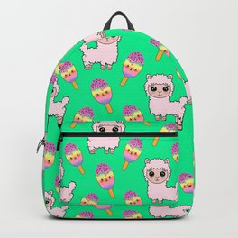 Cute happy fluffy cuddly funny Kawaii baby llamas, sweet adorable yummy colorful Kawaii rainbow ice cream popsicles cartoon pretty summer teal green design. Backpack