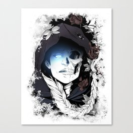 Watcher on the Bridge, witch illustration with skull and roses Canvas Print