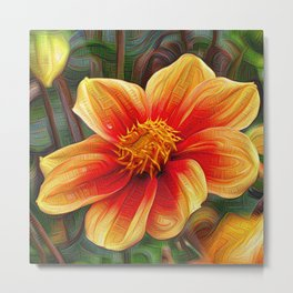 Orange Flower, DeepDream style Metal Print