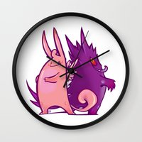 gengar Wall Clocks featuring Clefable and Gengar by Ida Dobnik
