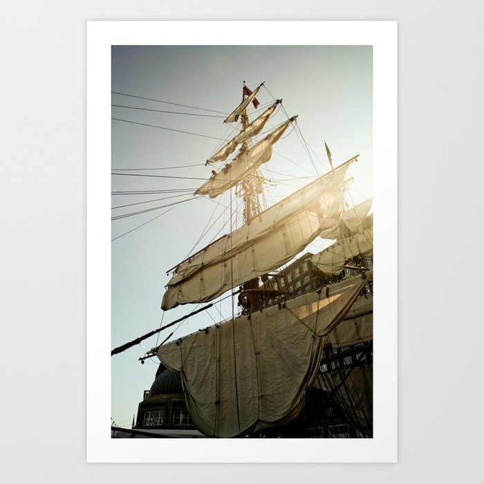 Tall Ship in Boston Harbor Art Print