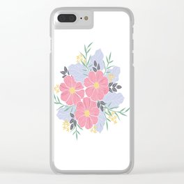 Vintage Pink Flowers Clear iPhone Case