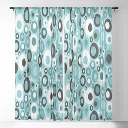 Turquoise Mid Century Geometric Ovals with Black and White Sheer Curtain