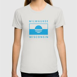 Milwaukee Wisconsin - Cyan - People's Flag of Milwaukee T-shirt