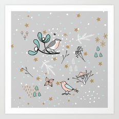 Scandinavian birds Art Print