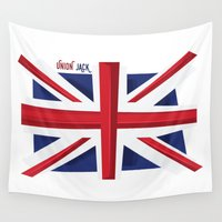 union jack Wall Tapestries featuring Union Jack Flag by Tonio YUMUI