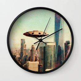 UFO Down Town Wall Clock