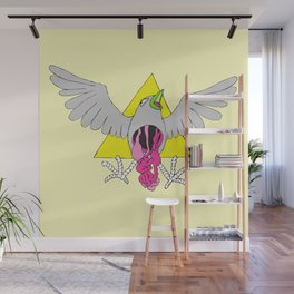 Crow Geo Guts - Yellow Wall Mural