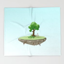 Low Poly Bunny Island Throw Blanket