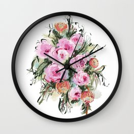 Romantic Bouquet of Pink Roses Wall Clock