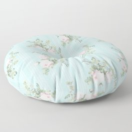 Shabby chic roses pink and mint Floor Pillow