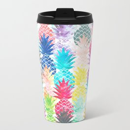 Hawaiian Pineapple Pattern Tropical Watercolor Metal Travel Mug