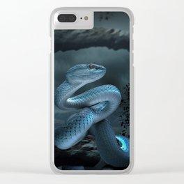 Blue Viper Snake Digital Art Clear iPhone Case