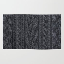 Charcoal Cable Knit Rug
