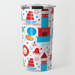 pattern with sea icons on white background. Seamless pattern. Red and blue Travel Mug