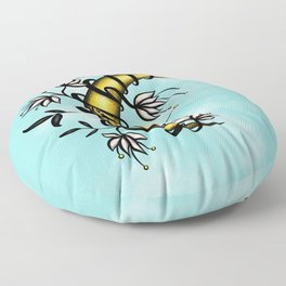 Crescent Moon With Flowers Tattoo Style Floor Pillow