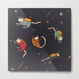 Cats in Space Metal Print