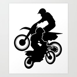 Motocross Dirt Bikes Off-road Motorcycle Racing Art Print
