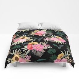 Watercolor Poppy & Sunflowers Floral Black Design Comforters