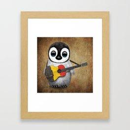 Baby Penguin Playing Belgian Flag Acoustic Guitar Framed Art Print