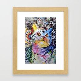 Chloe ... Abstract cat pet animal kitty art Framed Art Print