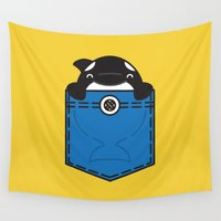 pocket Wall Tapestries featuring Pocket Whale by Steven Toang