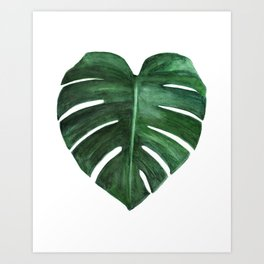 Watercolor Monstera leaf Art Print