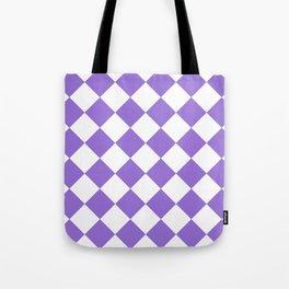 Large Diamonds - White and Dark Pastel Purple Tote Bag
