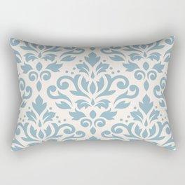 Scroll Damask Large Pattern Blue on Cream Rectangular Pillow